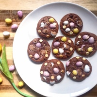 Gooey Mini Egg Chocolate Cookies